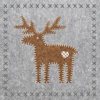 Servietten 33x33 cm - Felt Reindeer grey