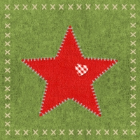 Servietten 33x33 cm - Felt Star green