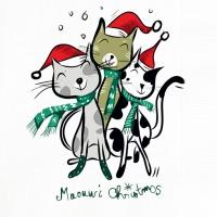 Lunch Servietten Three Xmas Cats