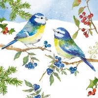 Servietten 33x33 cm - Blaue Vögel