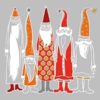 Servietten 33x33 cm - Weihnachtsmänner im Stil