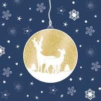 Servietten 33x33 cm - Deers Ornaments blue gold