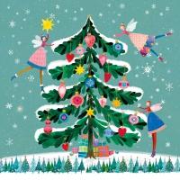 Servietten 33x33 cm - Happy Xmas Tree