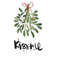 Servietten 33x33 cm - Kiss me misteltoes