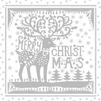Servietten 33x33 cm - Merry Deer silver