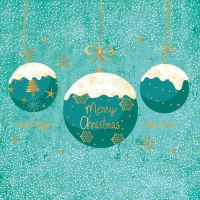Servietten 33x33 cm - A Very Merry Christmas turquoise