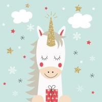 Servietten 33x33 cm - Christmas Unicorn