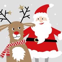 Servietten 33x33 cm - Santa & Deer