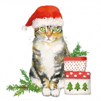 Servietten 33x33 cm - Christmas Kitty Napkin 33x33
