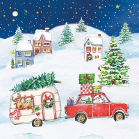 Servietten 33x33 cm - Christmas Car Napkin 33x33