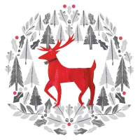 Servietten 33x33 cm - Silver Deer
