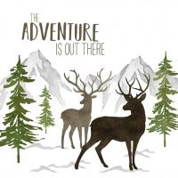 Servietten 33x33 cm - Adventure Deer white Napkin 33x33