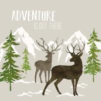 Servietten 33x33 cm - Adventure Deer taupe
