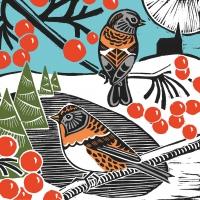 Servietten 33x33 cm - Winter Birds Napkin 33x33