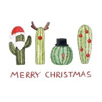 Servietten 33x33 cm - Christmas Cactus