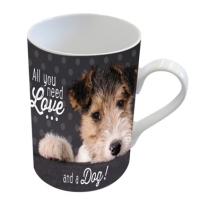 Porzellan-Tasse - Love and a dog