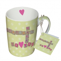 Porzellan-Tasse - Herzlichen Glückwunsch zum Geburtstag
