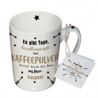 Porzellan-Tasse - Kaffeepulver