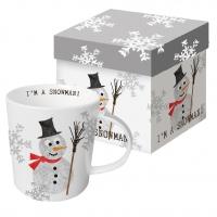 Porzellan-Henkelbecher - I´m ein Schneemann