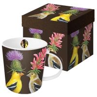 Porzellan-Henkelbecher - Goldfinch Couple