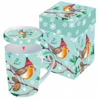Tasse mit Deckel Winter Bird