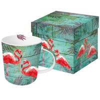 Porzellan-Henkelbecher - Sommer Flamingos