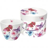 Porzellan-Tasse Aquarell Butterflies