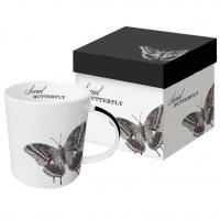Porzellan-Henkelbecher - Sozialer Schmetterling