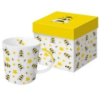 Porzellan-Henkelbecher - Dancing Bees