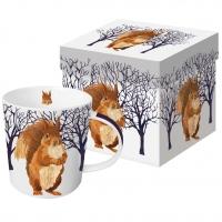 Porzellan-Henkelbecher Winter Squirrel