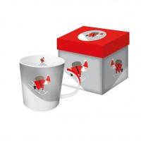 Porzellan-Henkelbecher - Hier kommt der Weihnachtsmann
