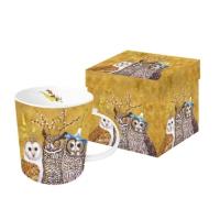 Porzellan-Henkelbecher - Owl Family