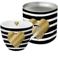 +*)Porzellan-Tasse - Herz & Streifen
