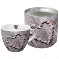 Porzellan-Tasse Heart on Wood