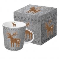 Porzellan-Henkelbecher Felt Reindeer