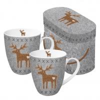 Porzellan-Henkelbecher - Set GB Felt Reindeer