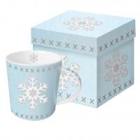 Porzellan-Henkelbecher - Gefühlte Schneeflocke