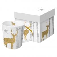Porzellan-Henkelbecher - Mystic Deer Gold
