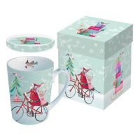 Tasse mit Deckel Santa on Bike