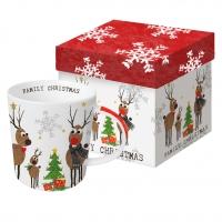 Porzellan-Henkelbecher - Familien-Weihnachten