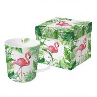 Porzellan-Henkelbecher - Tropical Flamingo