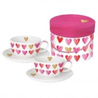 Cappuccino Tassen - Aquarell Hearts echtes Gold