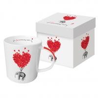 Porzellan-Henkelbecher - Liebe trägt alles