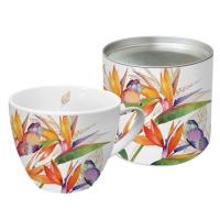 +*)Porzellan-Tasse - Papagei-Blume