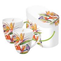 Porzellan-Henkelbecher - Papagei-Blume