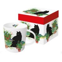 Porzellan-Henkelbecher - Schwarze Katzenblumentöpfe