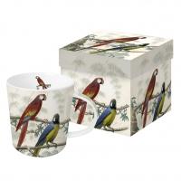 Porzellan-Henkelbecher - Antike Papageien