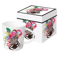 Porzellan-Henkelbecher - Flora Zebra