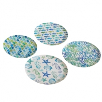 Bambus Teller - Bamboo Plates Aquarell Beach Set of 4