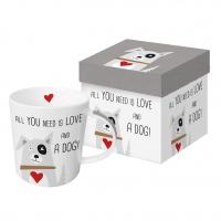 Porzellan-Henkelbecher - Love and Dog